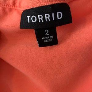 torrid Dresses - Coral knit to woven skater dress